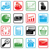 Icon set Finance. Vector illustration of finance and shopping icons Stock Photo