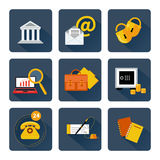 Icon set for finance and banking services. Set of 9 square icons for finance and banking services, support and security Royalty Free Stock Photos