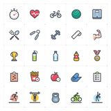 Icon set - Fitness and healthy full color outline stroke vector stock photos