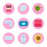 Icon Set on Flat Design Theme Vector Illustration Stock Images