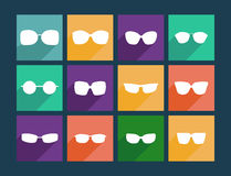 Icon Set Flat Sunglasses - Illustration Royalty Free Stock Photos