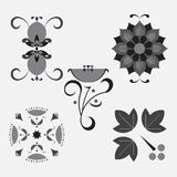 Icon set flower,decorative ornaments nature, sprout, label Stock Photo
