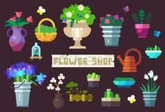 Flower Shop Goods Icon Set. Icon Set of Flower Shop Equipment and Goods, Flowers, Bushes and Grass as Isolated Objects royalty free illustration