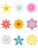 Icon set of flowers for design Royalty Free Stock Photos