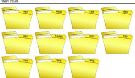 Icon set Folder for Text files - vector. An icon set with yellow folders named with the filename`s extensions of many different types of files - vector Stock Photo