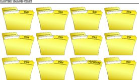 Icon set Folders for Raster image files -. An icon set with yellow folders for many different types of Raster images file formats - vector Royalty Free Stock Photo