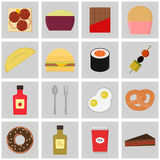 Icon set food. Colored vector buttons. Royalty Free Stock Image