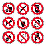 Icon set forbidden signs Stock Images