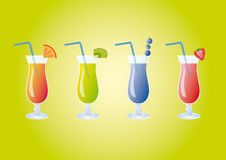 Icon Set fruit cocktail. Illustration of colorful cocktails. Healthy fruit smoothies Stock Photos
