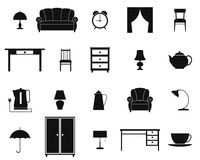 Icon set with furniture and household items. Vector. Royalty Free Stock Image