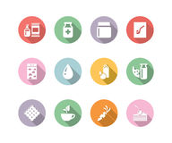 Icon set gastronomy color with long shadow Royalty Free Stock Photo