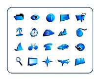 Icon Set General - Blue Stock Photo