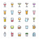 Icon set - glass and beverage  full color outline stroke vector stock photography