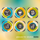 Icon set with glasses for alcohol Royalty Free Stock Image