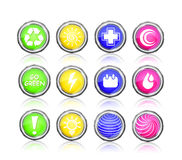 Icon set  - go green, sun, first aid, plus, drop Stock Photography