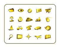 Icon Set - Gold Stock Photos