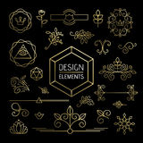 Icon set gold line art mono outline ornament flower Royalty Free Stock Photo