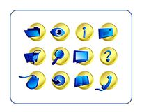 Icon Set - Golden-Blue Stock Photo