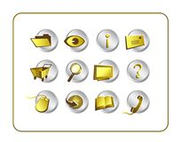 Icon Set Golden with clipping paths Stock Photography