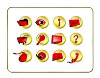 Icon Set Golden - Red Royalty Free Stock Images