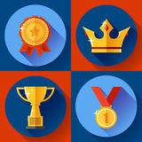Icon set Golden victory symbols champion cup, crown, medal, badge. Flat design. Royalty Free Stock Image
