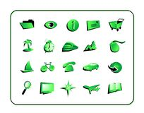 Icon Set Green - with clipping paths Royalty Free Stock Image
