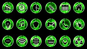 Icon Set 1 - Green Color Black Background. 4K Resolution royalty free illustration