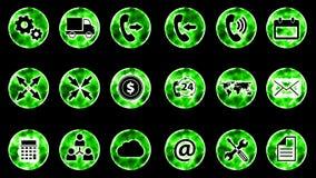 Icon Set 3 - Green Color Black Background. 4K Resolution vector illustration
