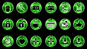 Icon Set 2 - Green Color Black Background. 4K Resolution royalty free illustration
