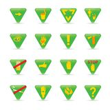 Icon set Green triangles ecology Royalty Free Stock Photography