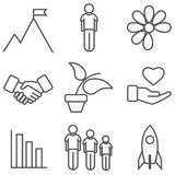 Icon set of growing and development Stock Image