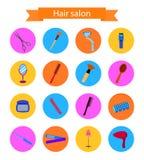Icon set of hairdresser elements. Flat style Stock Photography