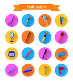 Icon set of hairdresser elements whith shadow. Flat style Royalty Free Stock Photo