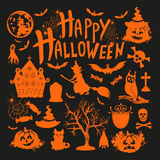 Icon set for Halloween on black background. Vector illustration Stock Photography