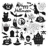 Icon set for Halloween on a white background. Black Halloween Icons on a white background Royalty Free Stock Photography