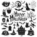 Icon set for Halloween on a white background. Black Halloween Icons on a white background Stock Photos