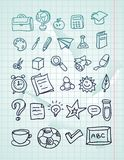 Icon set - hand drawn school doodles. On paper Stock Photo