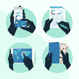 Icon set with Hands holding credit card, smartphone, money Stock Images