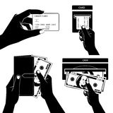 Icon set with Hands holding credit card, smartphone, money and o Stock Photo