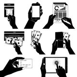 Icon set with Hands holding credit card, smartphone, money and o Royalty Free Stock Photo