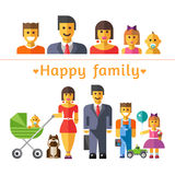 Icon set happy family. Parents and children Stock Photos