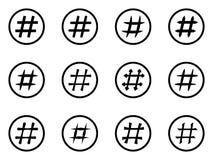 Icon Set of hashtags. Hashtag Symbols Royalty Free Stock Images