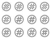 Icon Set of hashtags. Hashtag Symbols Stock Image