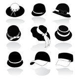 Icon Set  of Hats Black Silhouette Royalty Free Stock Photo