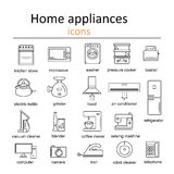 Icon set of home appliances. Royalty Free Stock Photos