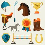 Icon set with horse equipment in flat style Stock Photography