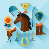Icon set with horse equipment in flat style Royalty Free Stock Photos