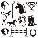 Icon set with horse equipment in flat style Royalty Free Stock Image