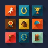 Icon set with horse equipment in flat style Royalty Free Stock Images