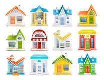 Icon set of houses and buildings of different types vector stock photo